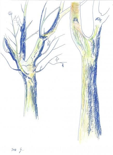 Stromy jsem malovala při pohledu z okna - keramickým perem, a až za